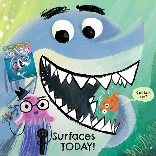 SHhhaarrrrk!! MISUNDERSTOOD SHARK by @AmeDyckman and illustrated by me is surfacing TODAY! Dive in to your favorite bookseller and catch your copy before they're all gobbled up—and you're sunk! Lots more here:  https://www. scholastic.com/kids/books/mis understood-shark/ &nbsp; …  @Scholastic @ozsaidso #shark Thanks everyone! <br>http://pic.twitter.com/GbeXywAOrP