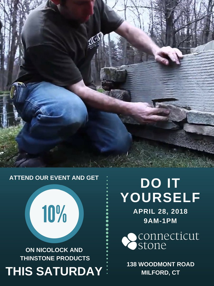 Connecticut stone ctstonesupplies twitter there will be live diy demonstrations raffles and food see you there diy doityouself thinstone nicolock patio raffle food madeinconnecticutstone solutioingenieria Image collections