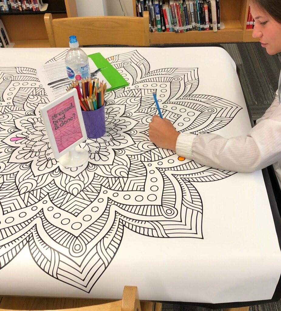 Come by the library and take a few mins to destress with our sticker art and collaborative coloring page fzsdlibraries bysticktogether muralsyourway