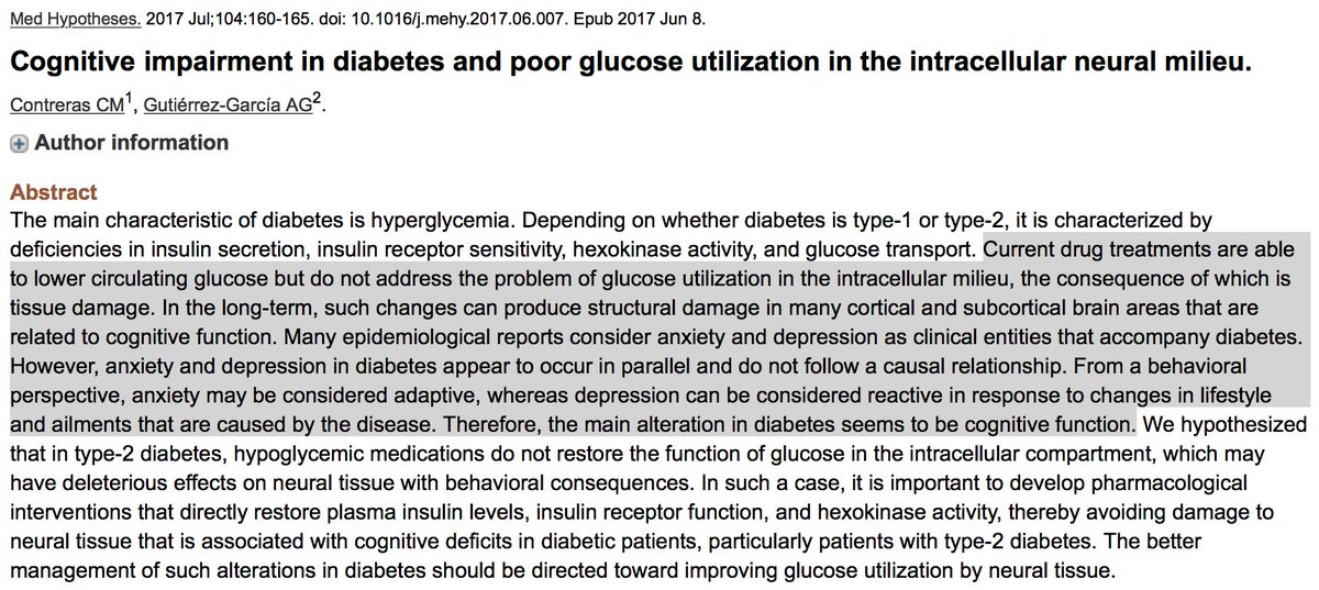 Chronic elevated #glucose and #insulin can lead to reduced #brain glucose use. Can this explain cognitive impairment (and #anxiety/#depression) and increased #alzheimers risk with #insulinresistance/#type2diabetes?<br>http://pic.twitter.com/SYeqyIyRQ9