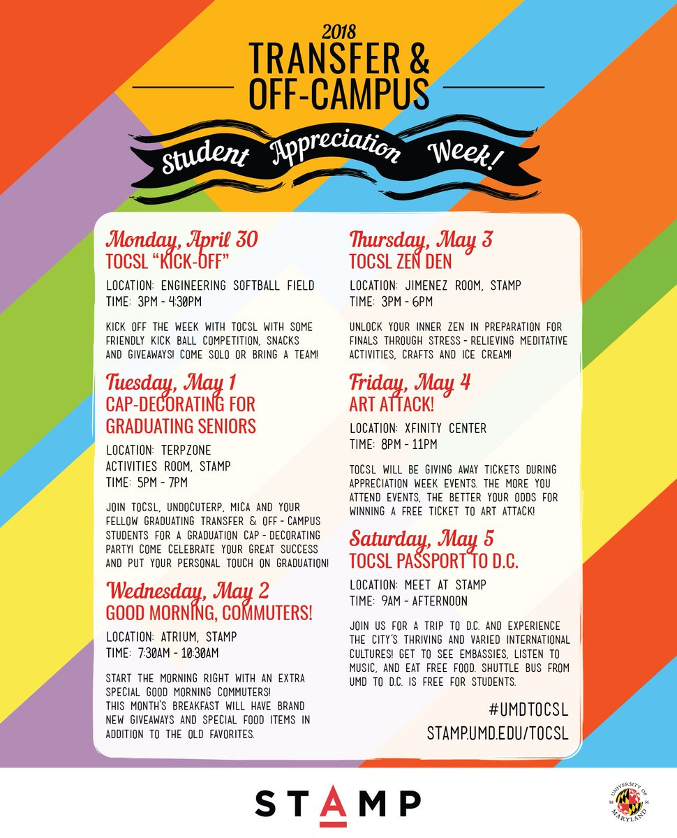 letters sciences on twitter hey ltsc terps the transfer and off campus student appreciation week calendar is out umdtocsl
