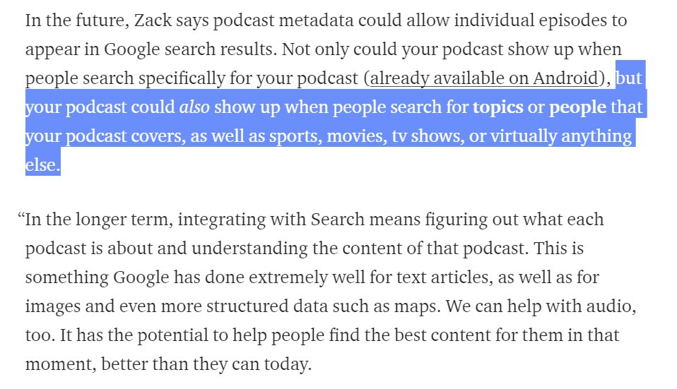 Google's long-term podcast plan? Make them inherently searchable, so you can find the CONTENT within them with search as well. https://t.co/dM8qFHfMy7