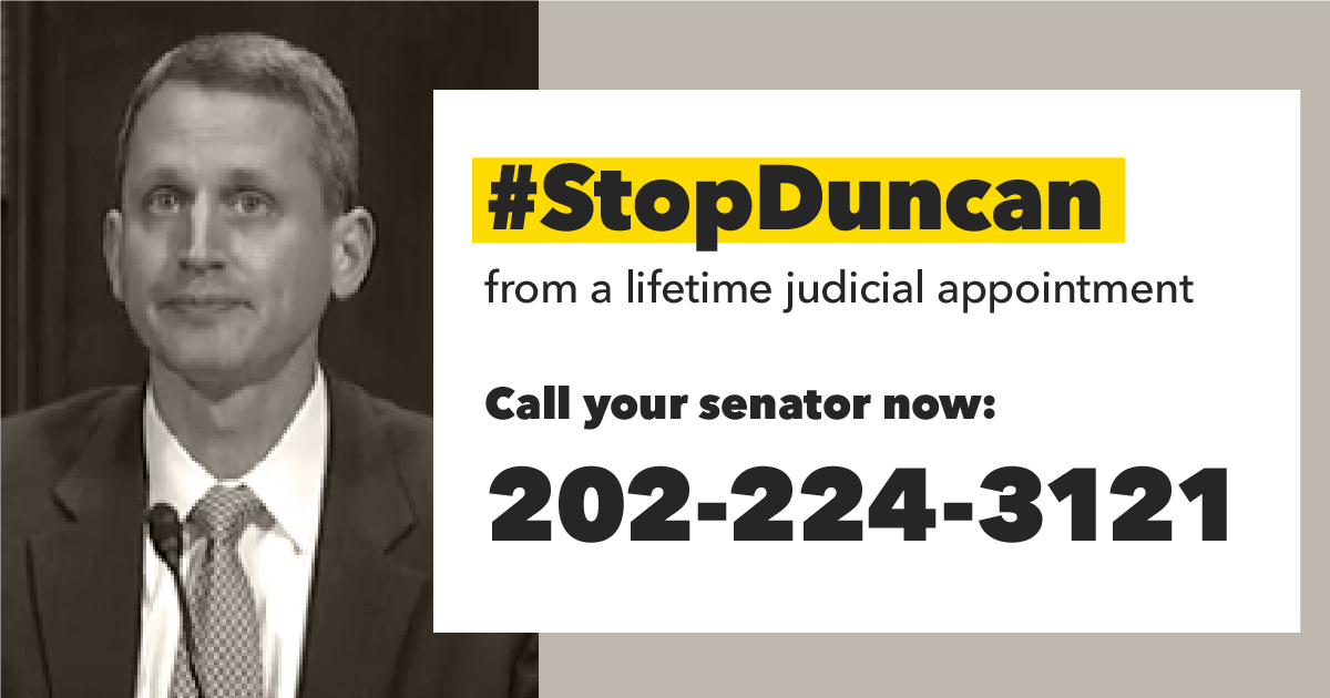Kyle Duncan has a track record of hostile views toward LGBTQ people, reproductive rights, and voting rights. And yet, he could be confirmed for a lifetime appointment on the 5th circuit.  It's not too late to tell your senators to #StopDuncan! 📞📞📞