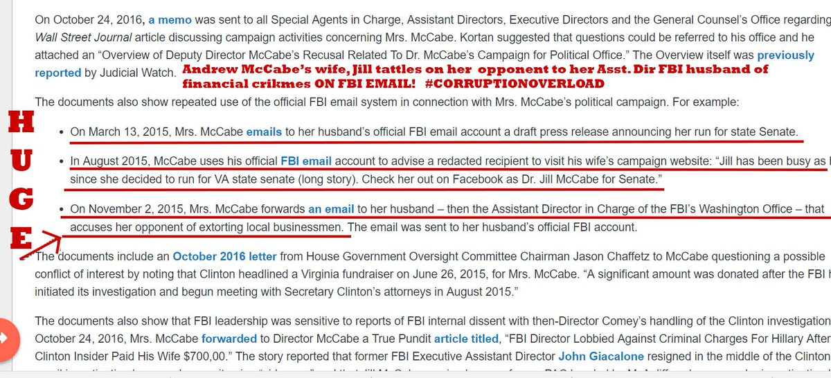 Judicial Watch: New FBI Records Show Jill McCabe reported financial crimes of her opponent to her Asst Dir of @fbi husband Andrew #McCabe on #FBI email.  #Comey covered up crimes of McCabe. These dudes are in big doo doo!     http:// jwatch.us/zq9BJD  &nbsp;   via @JudicialWatch<br>http://pic.twitter.com/uZO5FJKDHp