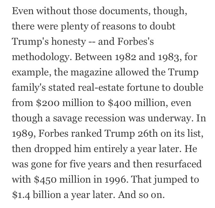 This one paragraph by @TimOBrien says a lot about the reliability of Forbes' rankings of the richest people, including Trump: https://t.co/N6npcj1BDZ
