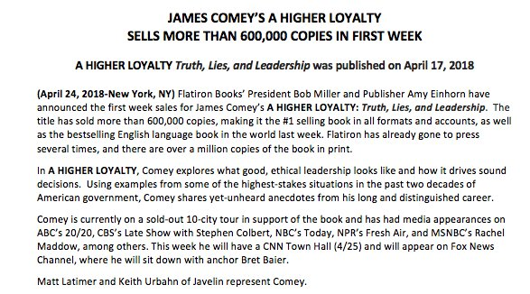 Inbox: @Comey's book sells more than 600,000 copies in first week, publisher says.