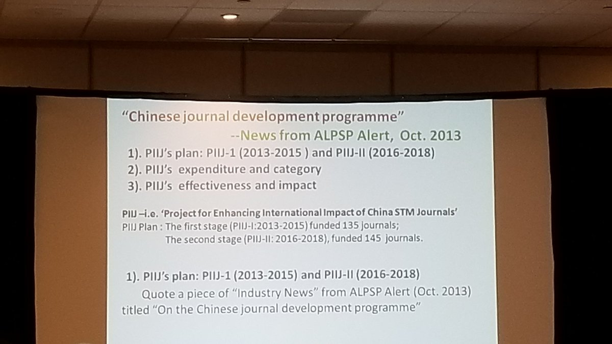 Zhang describes how the China goverment&#39;s PIIJ 6-year plan (executed in two 3-year phases) has increased the impact and international value of China&#39;s scholarly publishing initiatives during #STMAnnualUS. #publishing #Journals <br>http://pic.twitter.com/0dgPEoBAhI