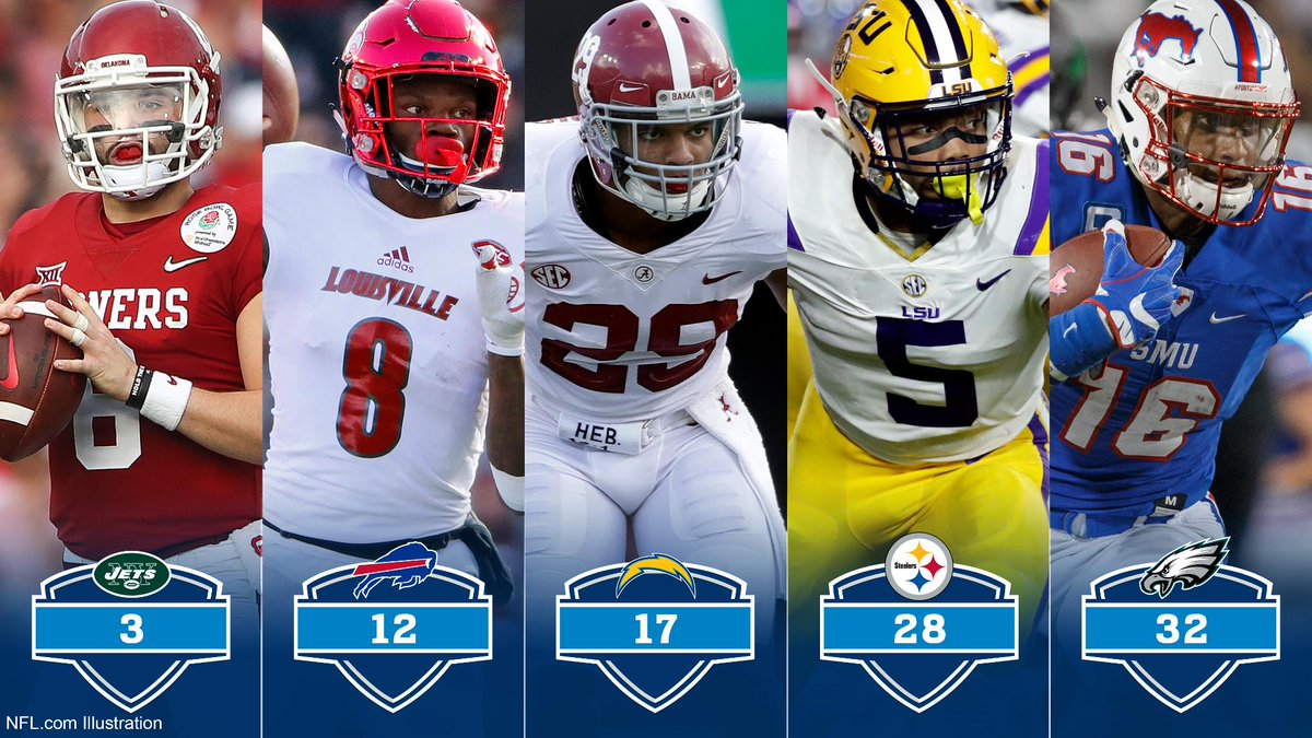 Mock Draft 3.0! (via @CFD22)  5 QBs selected in top 12 picks. RB Derrius Guice (@DhaSickest) to #Steelers. #Eagles pick WR @SuttonCourtland.  FULL MOCK: https://t.co/vfbfeQlfDu