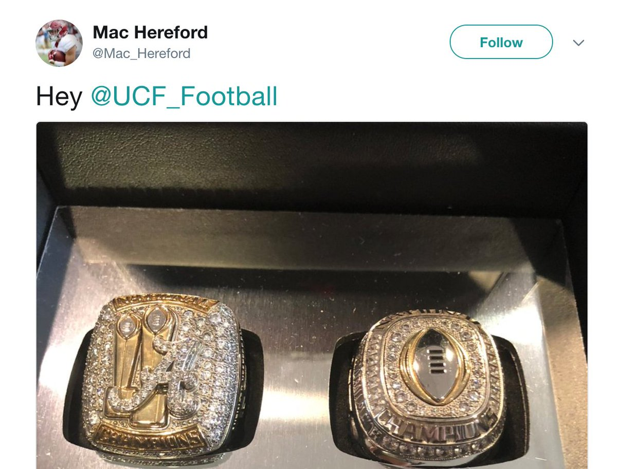 Alabama players trolling UCF on Twitter after getting their championship rings 😂 https://t.co/bUFT6gyPtf