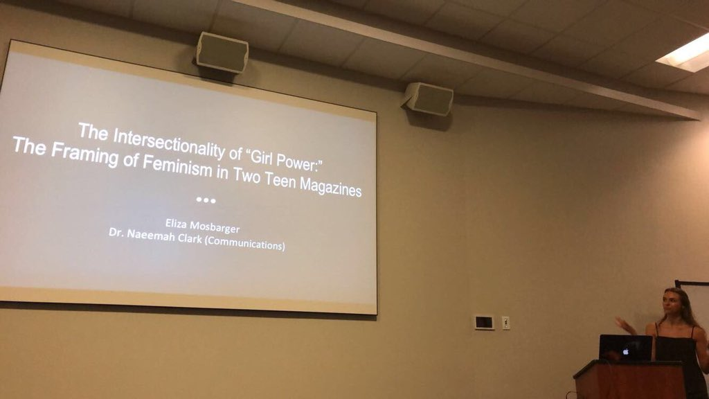 #CCiFeminism #SURF2018 Had to come support my peer @MosbargerEliza! Her research looked at intersectionality and feminism in Seventeen and Teen Vogue magazines, interestingly there was a spike in 2016 in how much feminism was used in the magazines.<br>http://pic.twitter.com/POxdZW1CDL