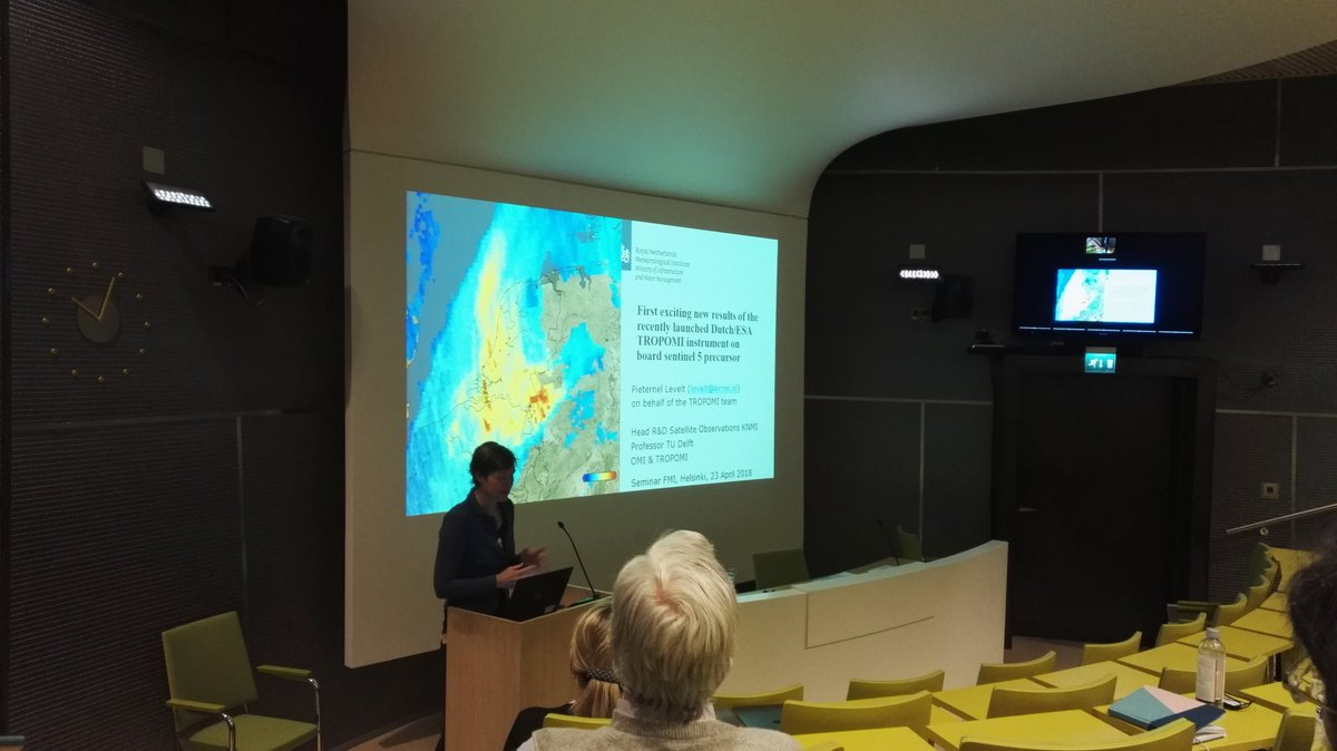 Today at #FMI @IlmaTiede prof. Pieternel Levelt from #KNMI showed latest results from #TROPOMI #satellite: now #global  #airquality can be monitored at finer resolution than ever before. This mission is success already only after few months in operation! <br>http://pic.twitter.com/14fL6igJfQ