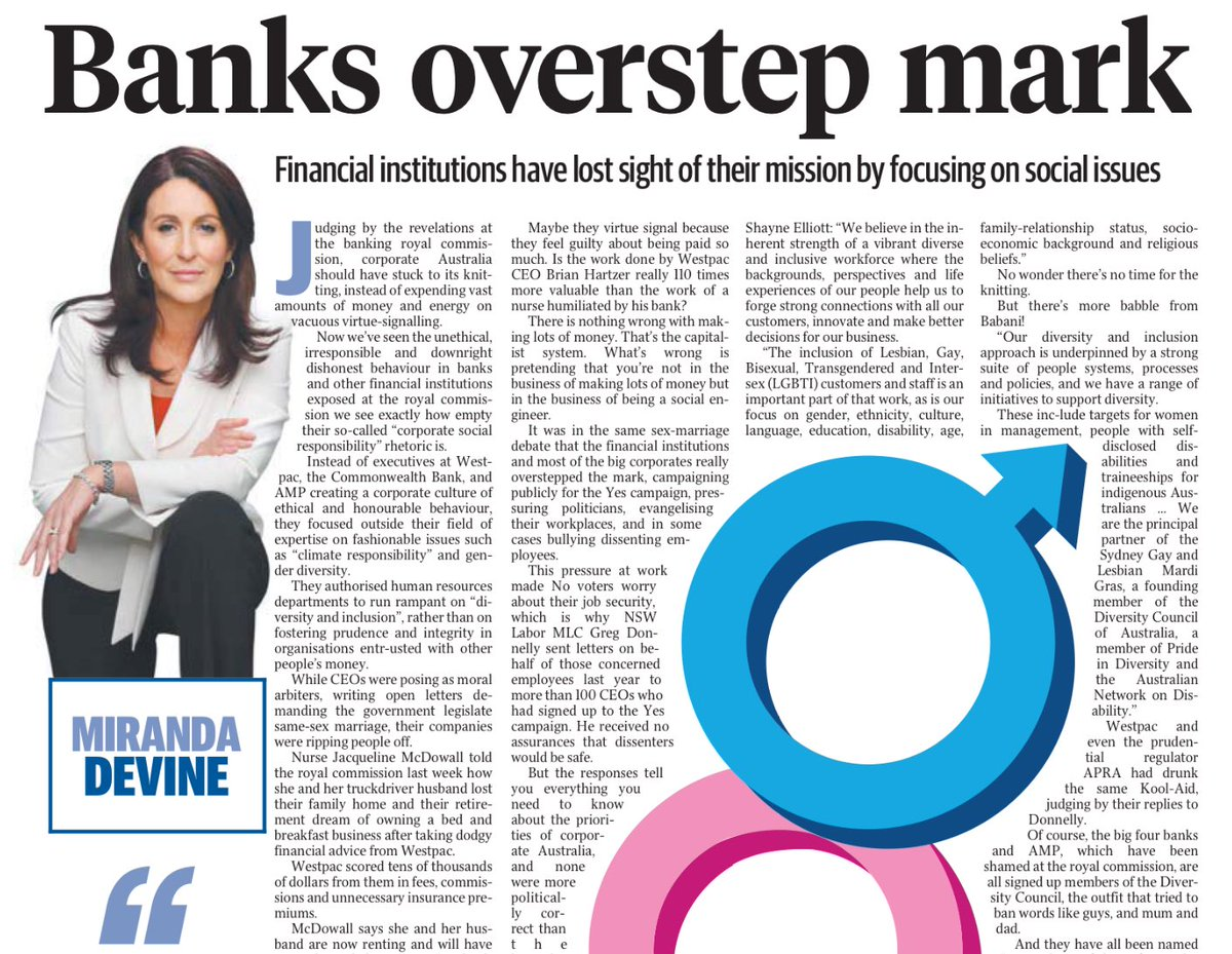 All the scandal coming out of the banking royal commission? Devine still finds a way to blame the gays.