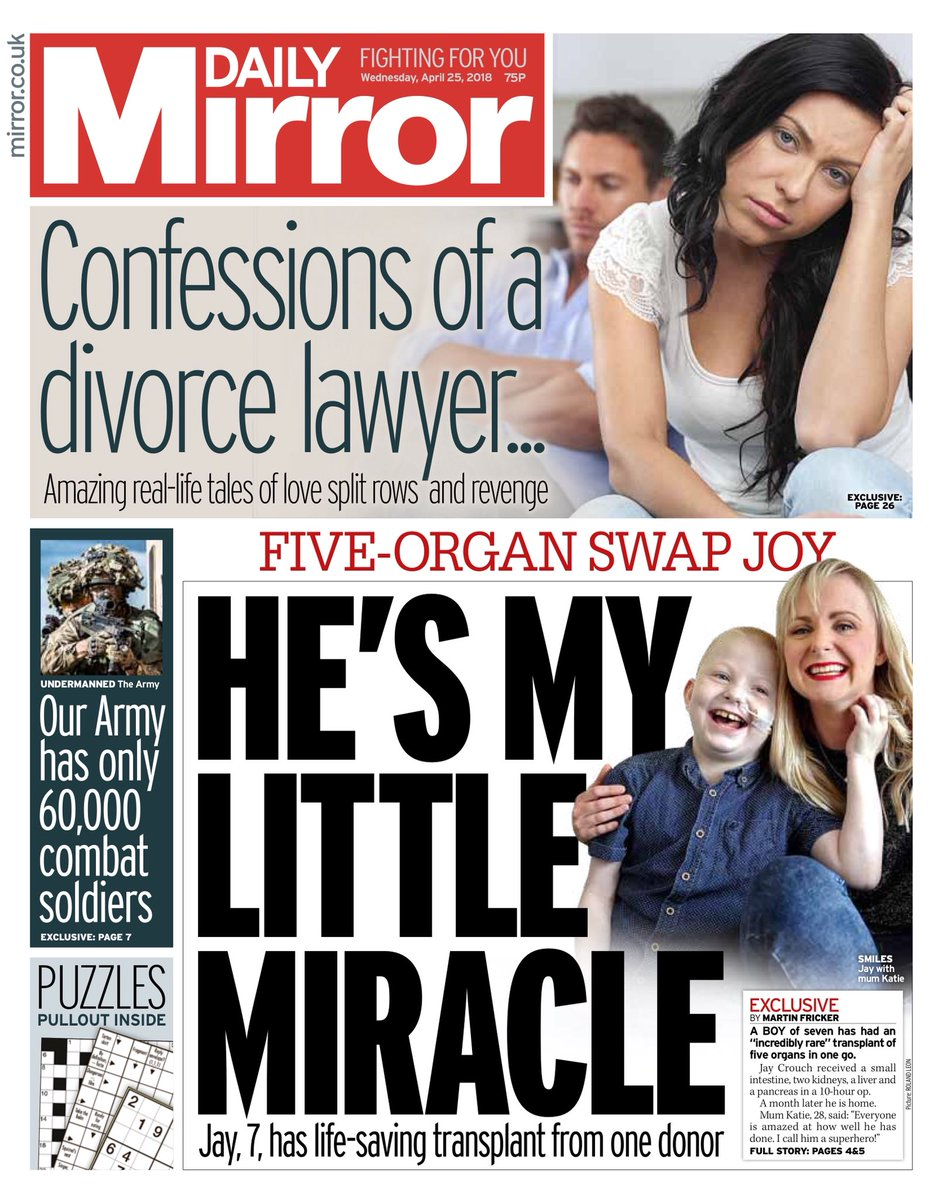 Wednesday's Daily Mirror: 'He's my little miracle'  #tomorrowspaperstoday  #bbcpapers (via @BBCHelenaLee) https://t.co/vofP6uddNi
