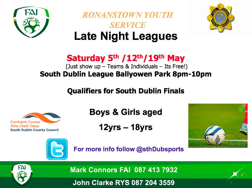 @FAIreland Late Night Leagues return across four venues in SDCC in May. Our programme in the South Dublin Football League begins on Saturday May 5th at 8pm &amp; its free! #FAI #SDCC  <br>http://pic.twitter.com/05ZoZS77c1