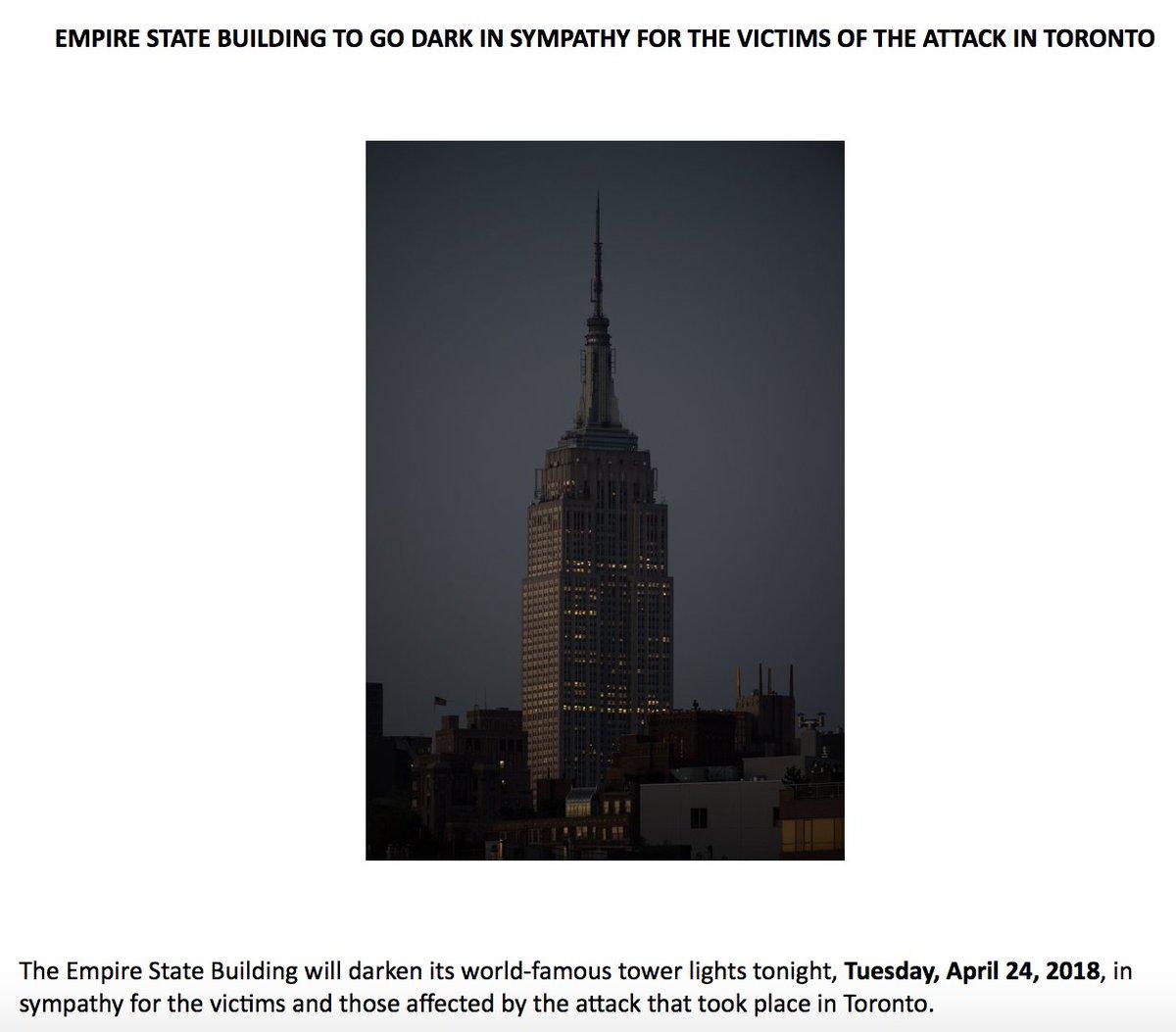 Inbox: Empire State Building will go dark tonight in honor of the victims of the Toronto van attack. https://t.co/uTxJ3kO48U