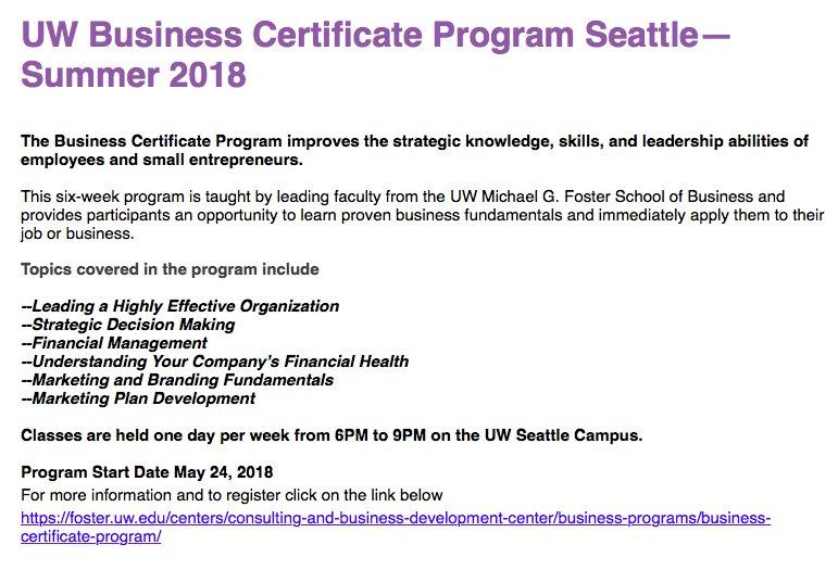 Uw Foster Consult On Twitter Uw Business Certificate Program