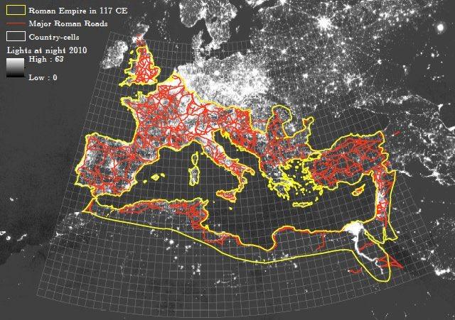 Roman roads and urban light density: the...