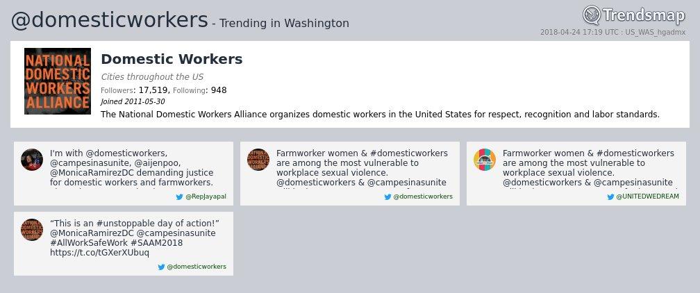 Domestic Workers, @domesticworkers is now trending in #DC  https://t.co/wz4kLIVkC9 https://t.co/fkyqTV9iat