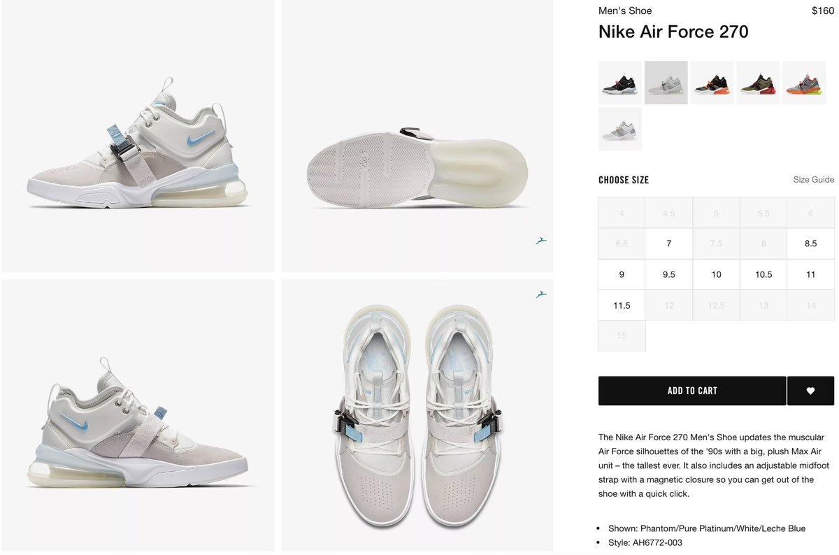 599c41d06faa  RESTOCK on Nike US Nike Air Force 270  Phantom     http   bit.ly 2HVT5nd     http   bit.ly 2HVT5nd Sold out everywherepic.twitter.com sOYwDzwWsd