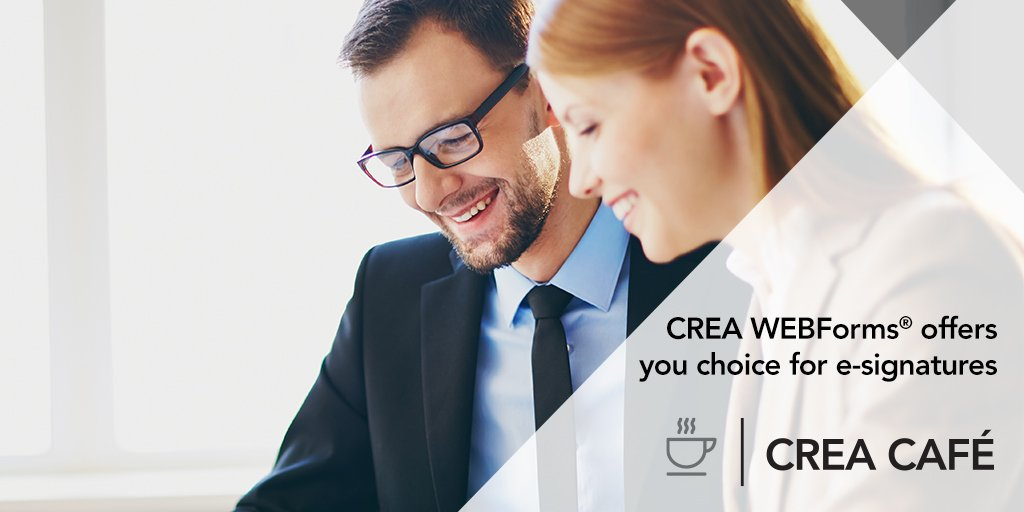 test Twitter Media - CREA WEBForms® not only saves you time and money, it offers you the choice to pick from four major e-signature providers. The details: https://t.co/7BOmw3wMYJ #CREACafé https://t.co/IPqZKBE51Z