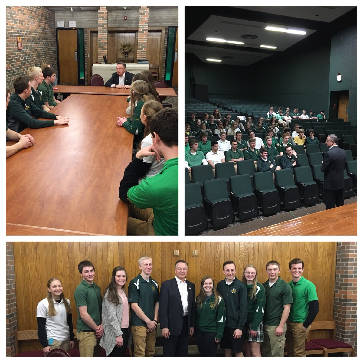 Before a Q&A session with the  gov@BeckmanCatholict class, I met with the science club to learn about their recent award as a Top Research School in IA. 2 students, Megan Ertl and Mason Burlage, will present at DoD funded symposiums in Baltimore and Boston- keep up the good work!