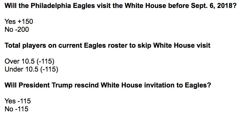 There are betting odds on the possibility of the Eagles visiting the White house. (@BetDSI) bleedinggreennation.com/2018/4/23/1727…