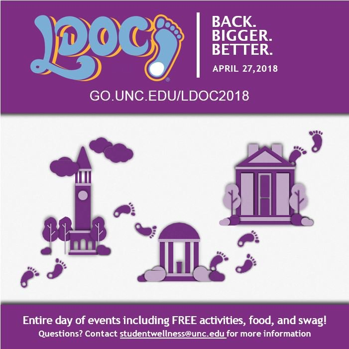Don't miss tomorrow's #LDOC2018 hosted by @UNCHealthyHeels! Activities will happen throughout the day around campus and Chapel Hill. For event times and info, visit: https://t.co/Mnv4vwATYA https://t.co/eMGsw3UrxT