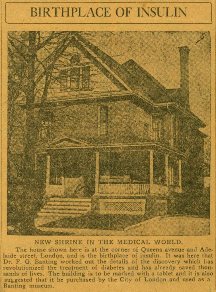A bit of a stretch for #cityMW, but @CityofLdnOnt is mentioned in this front page article of the Detroit Free Press, 1923 referring to us as the birthplace of #insulin and suggesting the property be turned into a museum. #MuseumWeek #ldnmuse #ldnont #OEV #diabetes #cdnhistory<br>http://pic.twitter.com/9fWMkUusFQ