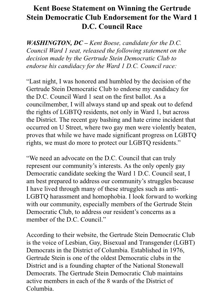 Endorsements & Ratings | Kent Boese for Ward One D C  Council