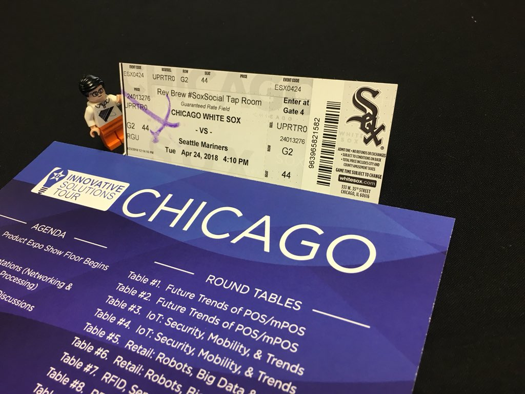 Barry Code is at again. This time he's attending the Bluestar Innovation Solutions Tour at the @whitesox vs @Mariners game in Chicago! #supplychaingeek #aidc #pos @Think_BlueStar @BarcodingInc<br>http://pic.twitter.com/mawTipZFss &ndash; à U.S. Cellular Field