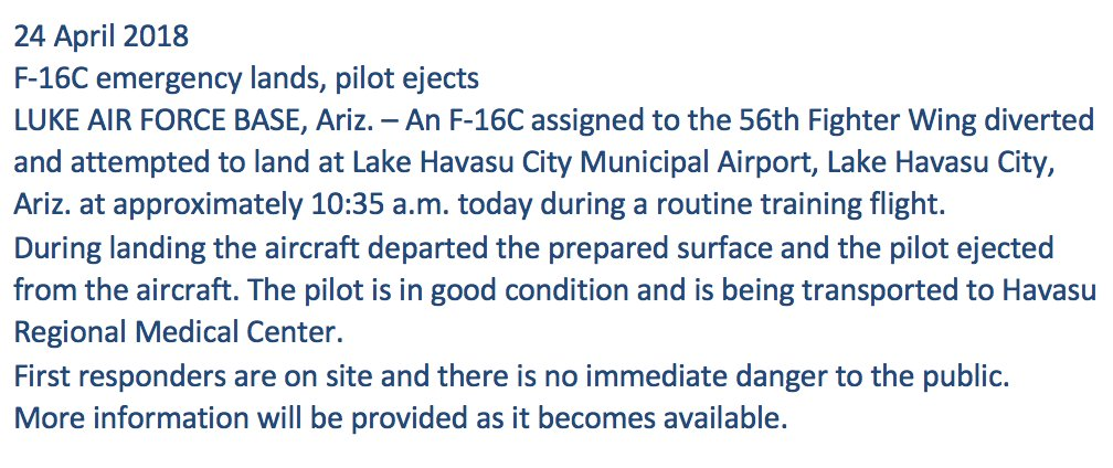 """F-16C crashes while attempting to land at Lake Havasu City Municipal Airport in Arizona, U.S. Air Force says; pilot ejected and is in """"good condition."""" https://t.co/rCCXyQ78Vq"""