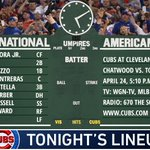 Here is tonight's #Cubs lineup as we return to Cleveland. #EverybodyIn  Game preview: https://t.co/tLCXGM7B4H
