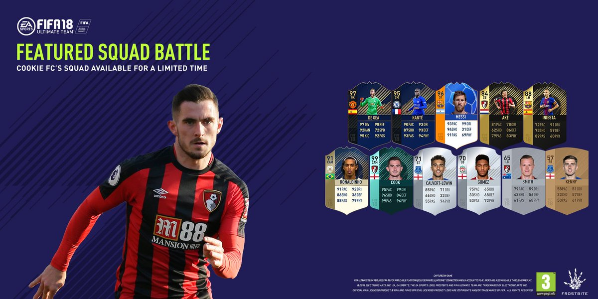 @lewiscook_ @EASPORTSFIFA This team 👌🔥 Now available to play against in @electronicarts #FIFA18 - @lewiscook_s Featured Squad Battle 👊 🎥 bit.ly/LCook_FUT #afcb 🍒