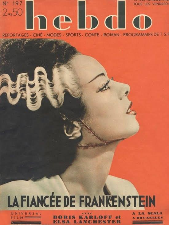 amazing #french #magazine #cover for the #Bride of #Frankenstein with #ElsaLanchester<br>http://pic.twitter.com/uQdW3ZswjR