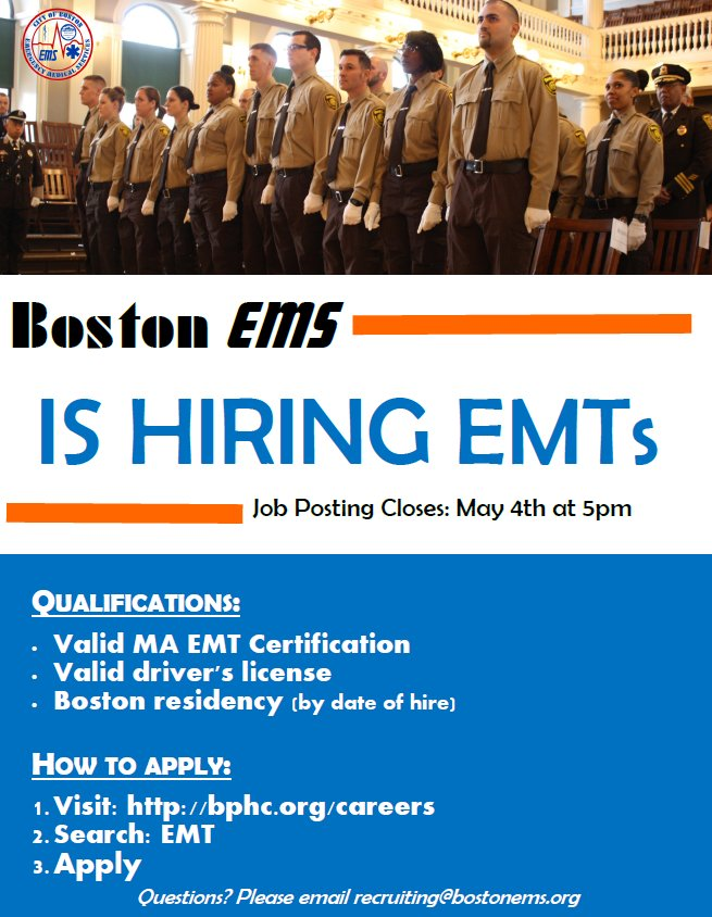 ... an EMT for Boston EMS visit: https://www.boston .gov/departments/emergency-medical-services/how-become-boston-ems-emt#apply  …pic.twitter.com/CJ5NNKIZcG
