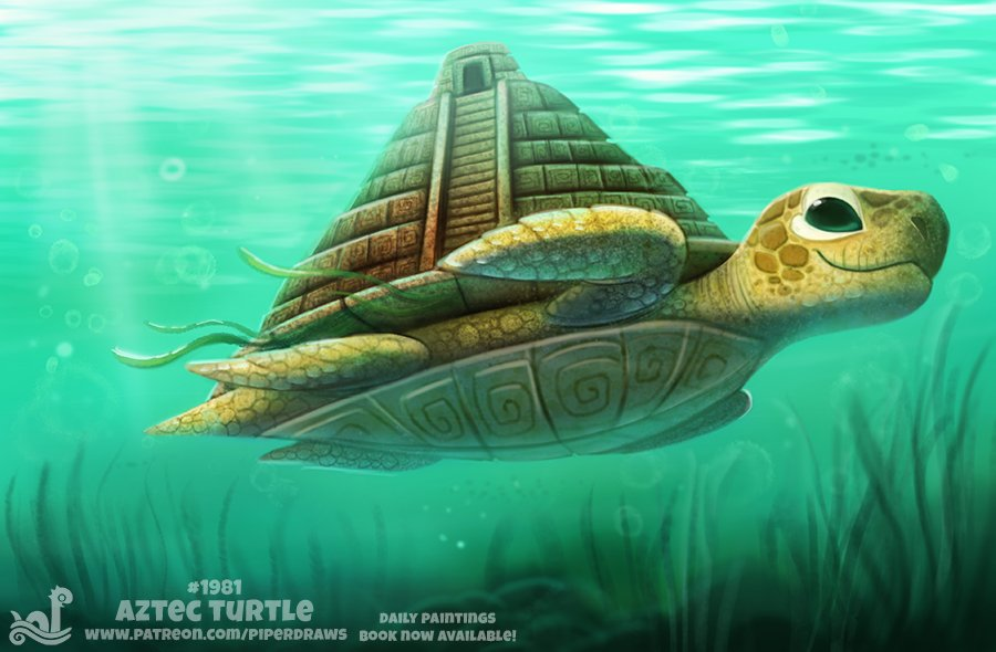 Daily Paint 1981# Aztec Turtle  #illustration #animals  Daily Paintings Book:  http:// ForgePublishing.com/shop  &nbsp;             https://www. patreon.com/piperdraws  &nbsp;  <br>http://pic.twitter.com/KhFjwSPu66