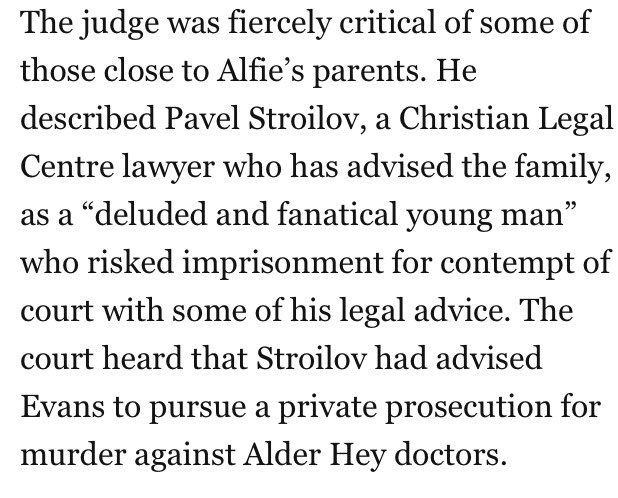 As was the case with Charlie Gard, so too with Alfie Evans  - there appear to be vultures taking advantage of vulnerable parents. Christian Legal Centre is a menace. And virulently homophobic to boot.