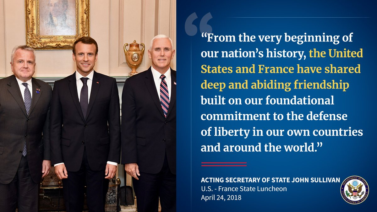 Today, Acting Secretary Sullivan delivered remarks at a State Luncheon in honor of French President @EmmanuelMacron and Mrs. Macron. Read his full remarks here: https://t.co/g9RhcXxgxS