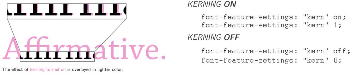 Turn font kerning on or off using font-feature-settings: &quot;kern&quot; [on|off|0|1] #100DaysOfCode #css #cssgrid #javascript #html #html5  #webdev #webdevelopment #frontend #reactjs #vuejs #angular #fonts #typography <br>http://pic.twitter.com/mB0ahJmt9E