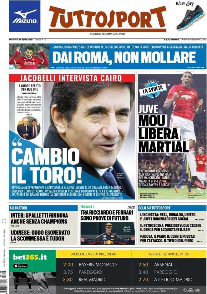 Tuttosport. April 25. #frontpage #primap...