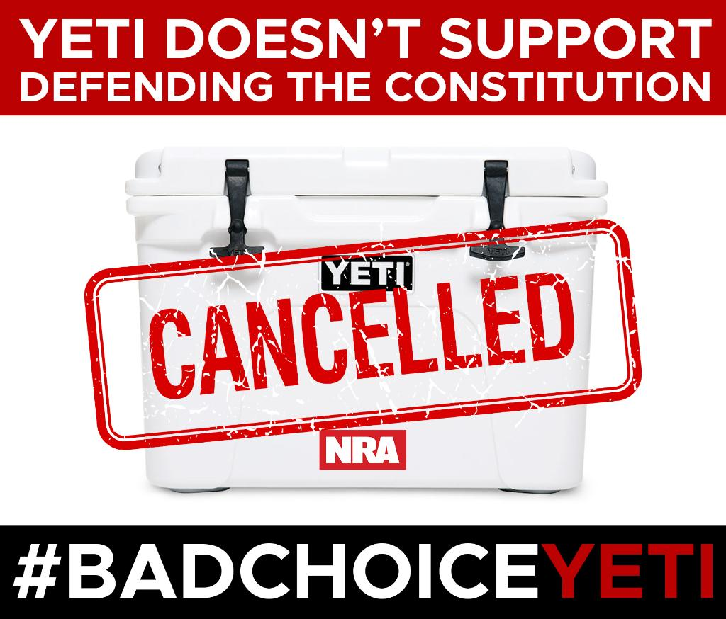 To all law-abiding gun-owning Americans: @YETICoolers  declines to do business with freedom's safest place. We guess they don't support America's oldest civil rights organization and your #2A rights. Tell @YETICoolers  you are upset by using the hashtag #BadChoiceYETI.