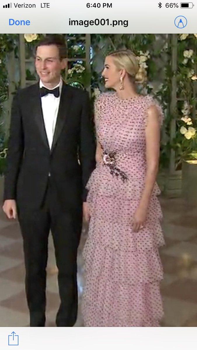 . @IvankaTrump tonight wearing this $12,000 @OfficialRodarte pink polka dot dress