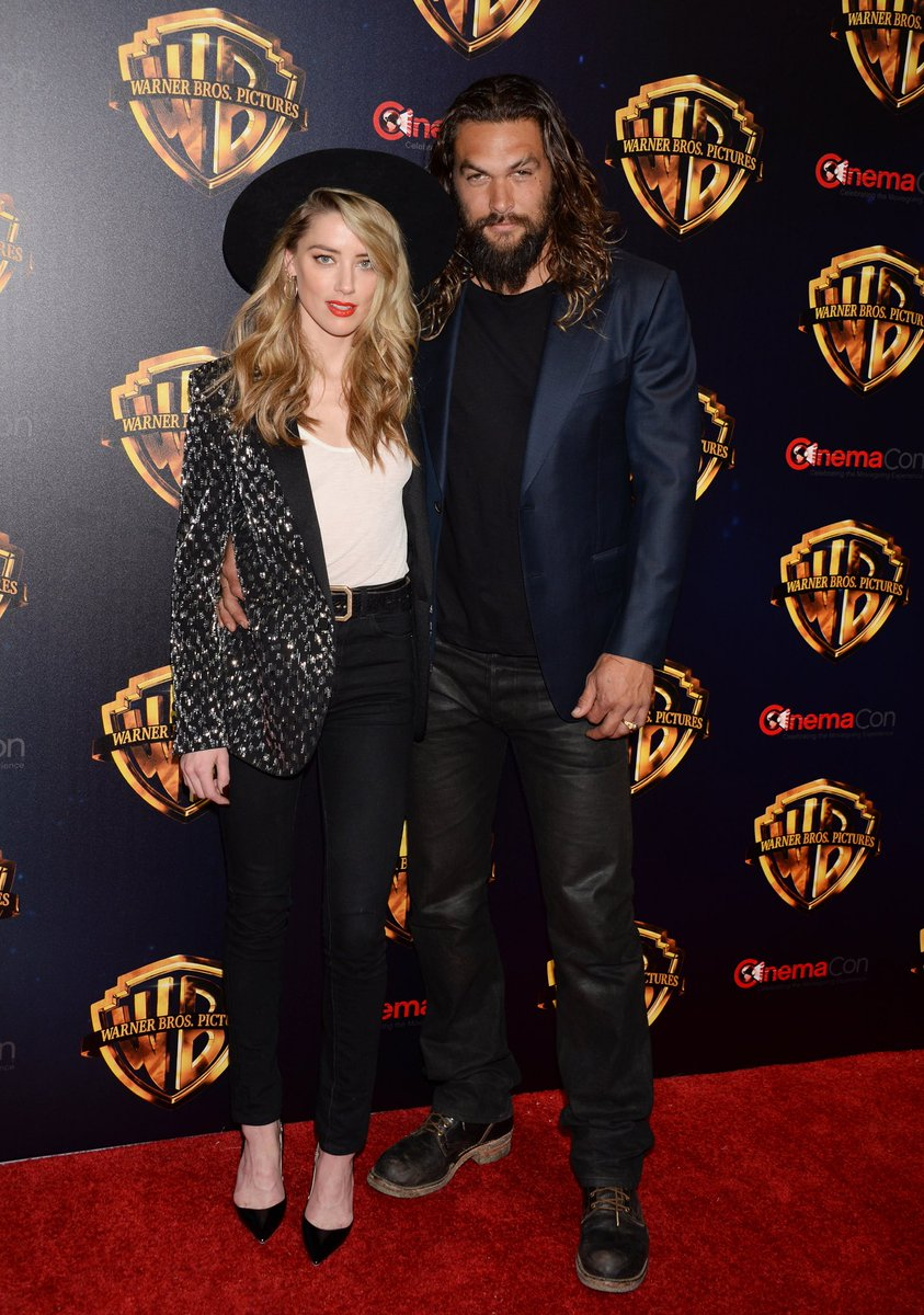 Amber Heard and Jason Momoa with #AQUAMA...