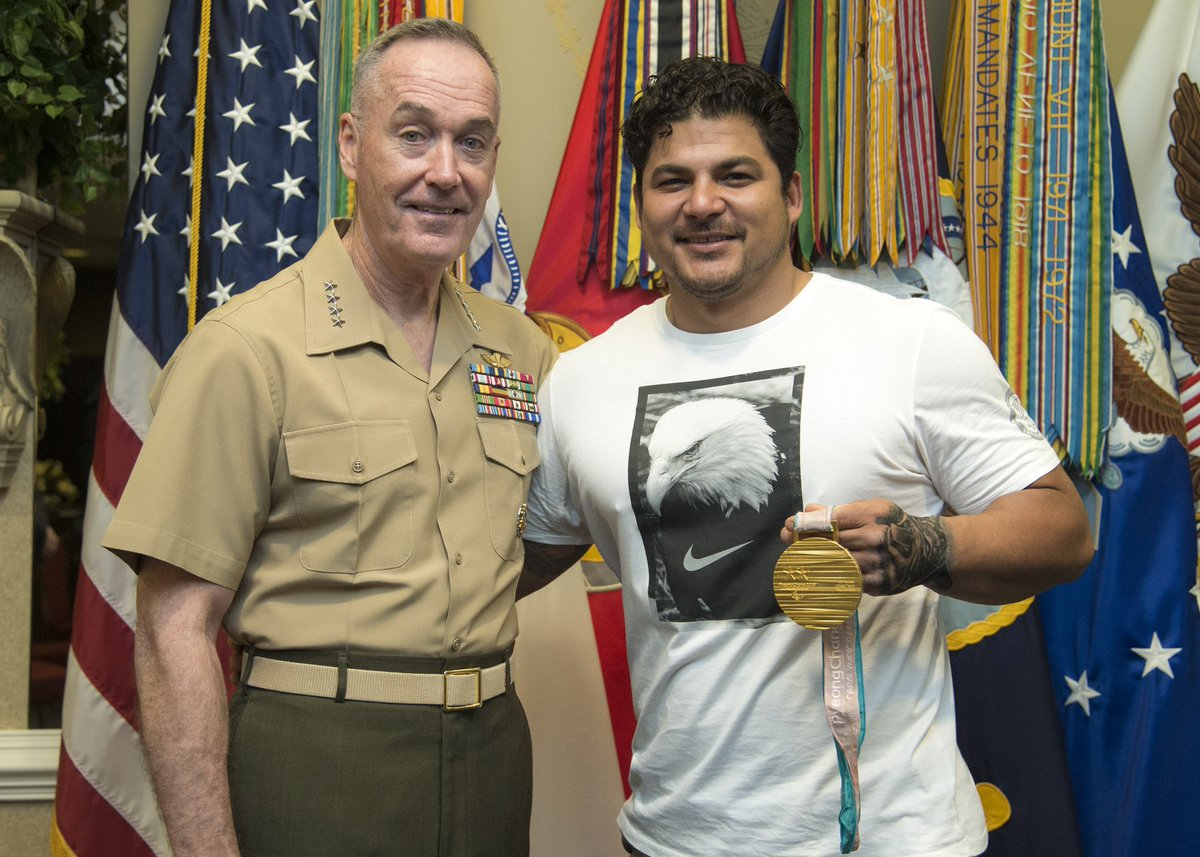In retire @USMCd  Gunnery Sgt. Ralph DeQuebec's case, today was a reunion of sort #GenDunfords.  presented him with his Purple Heart in 2012 while he was recover @WRBethesdaing  from wounds sustained in Afghanistan from an IED.