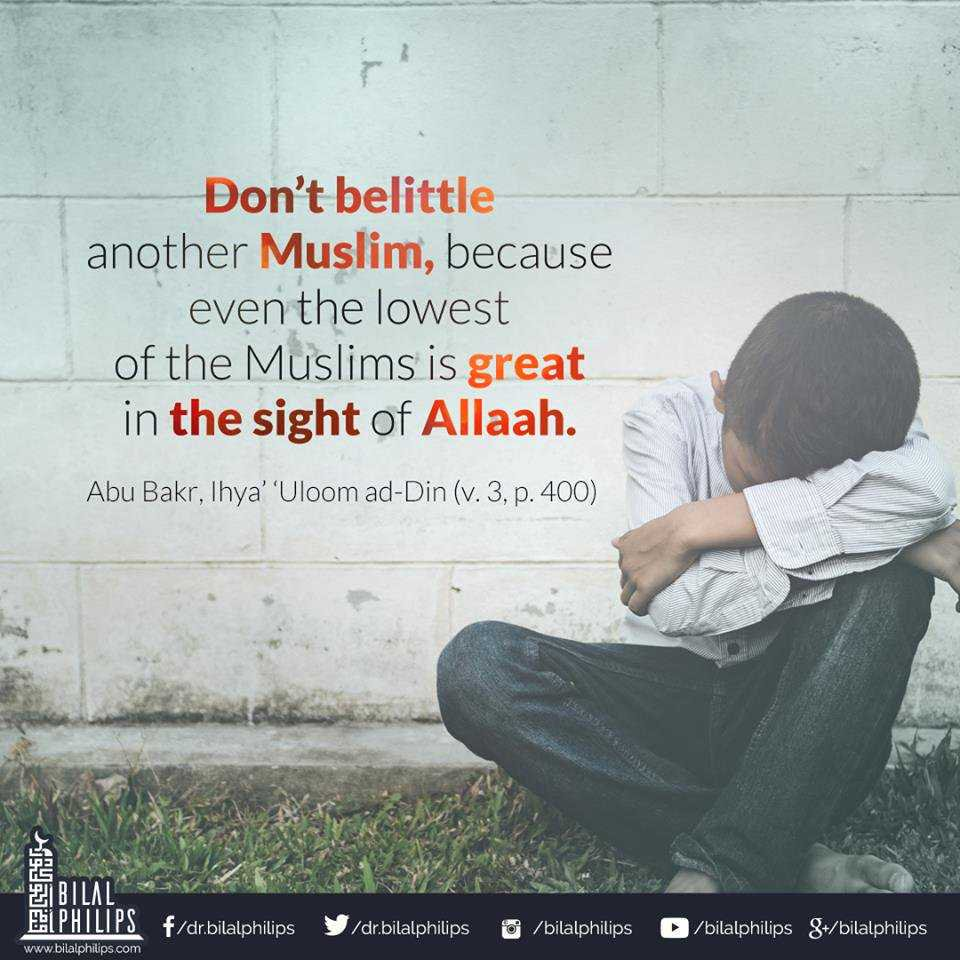 &quot;Don&#39;t belittle another Muslim, because even the lowest of the Muslims is great in the sight of Allah.&quot;-Abu Bakr #Muslims #Life #Allah<br>http://pic.twitter.com/dcJ9BTqWUf