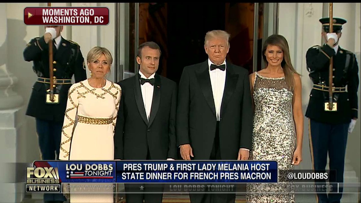 .@POTUS and @FLOTUS welcome French President @EmmanuelMacron and his wife Brigitte to the @WhiteHouse ahead of President Trump's first state dinner.