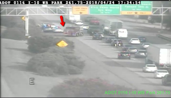 I-10 EB near Park in Tucson: Left lane blocked for crash near MP 261. #Tucson