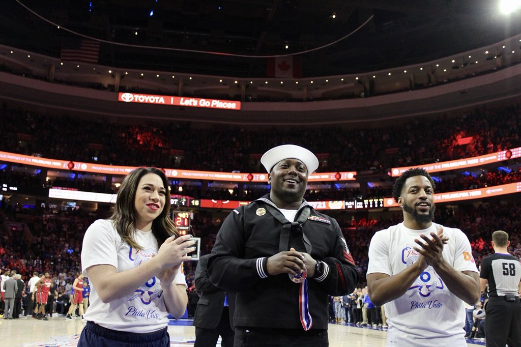 Tonight's @Toyota Salute of the Game is Petty Officer First Class Anthonio Oglesby.  PO Oglesby has served in the @USNavy for 7 years, including 2 overseas tours. He is stationed in Philly where he serves as Watch Commander in daily Law Enforcement and Anti-Terrorism Operations!