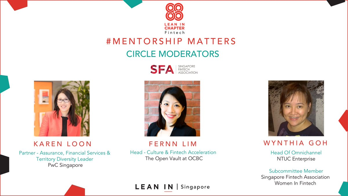 Introducing our 1st 3 circle moderators from @PwC_Singapore, @OCBCOpenVault &amp; NTUC Enterprise for #MentorshipMatters on May 9 with @sgfintech #womeninfintech &amp; @Prudential. Join us to hear, share &amp; learn how to find &amp; be a #mentor. Register at  http:// bit.ly/mentorshipmatt ers &nbsp; …  @LeanInSG<br>http://pic.twitter.com/504Yq4ymr4