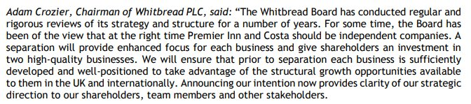 Costa Coffee and Premier Inn owner Whitbread announces plans for break-up